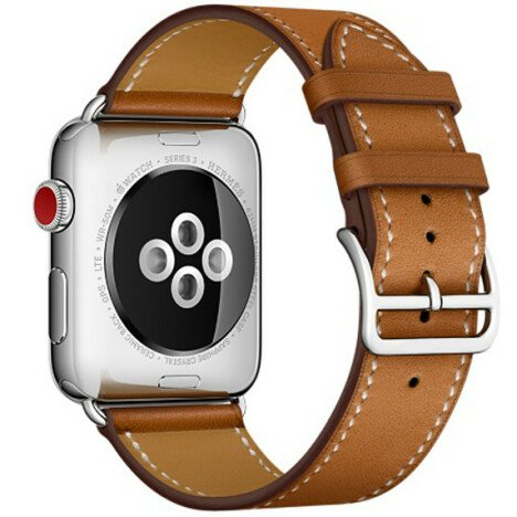 Curea iUni compatibila cu Apple Watch 1/2/3/4/5/6, 40mm, Single Tour, Piele, Maro